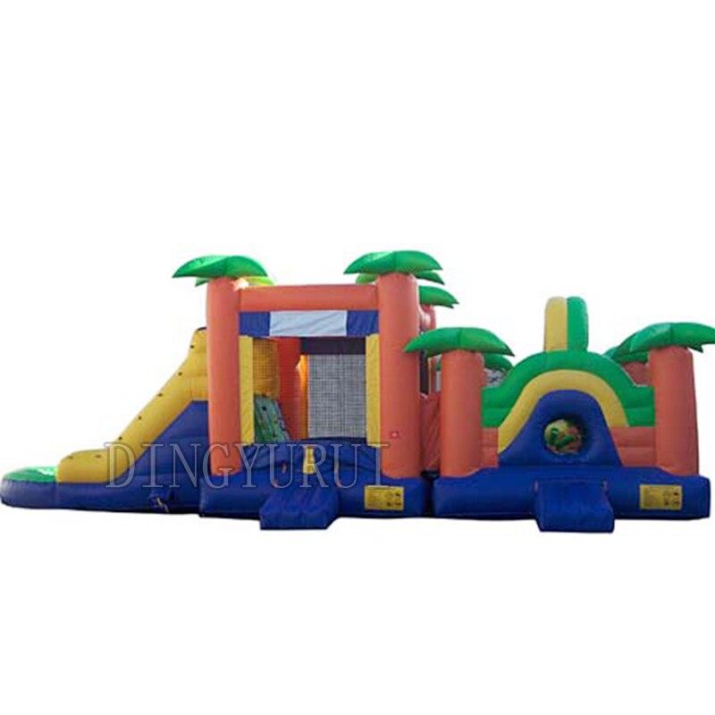 3 em um jogo inflável combo material PVC corrediça inflável e curso de obstáculo combo para venda