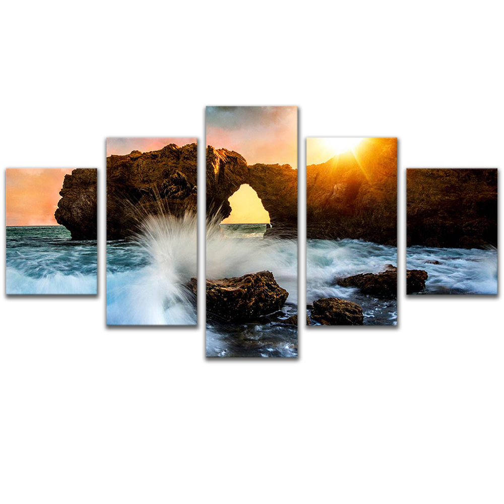 Unframed Canvas Painting Sunlight Reef Spray Sea Photo Picture Prints Wall Picture For Living Room Wall Art Decoration