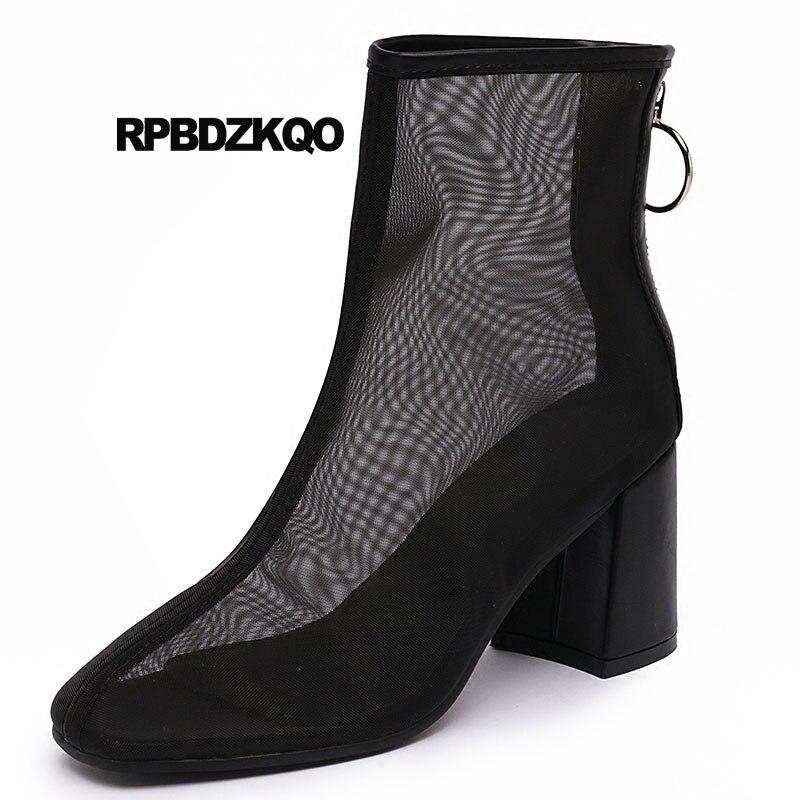 2018 D'été Bottes Mode Noir blanc Mesh Large Chunky Femmes Veau Court Chaussures Luxe Carré Hauts Bout Marque Sandales Noir Blanc Cheville À Talons De BzHZg