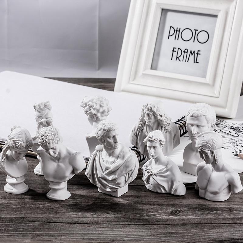 10PCS \ set Resin Plaster Model 5-8cm Venus Ares Plaster Statue History Myth Figures Sketch Painting Practice Resin Ornaments