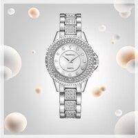 BAOSAILI Brand Luxury Women Watches Alloy Watchband Rhinestones Relogio Feminino Gold Plated Crystal Diamond Ladies Watches