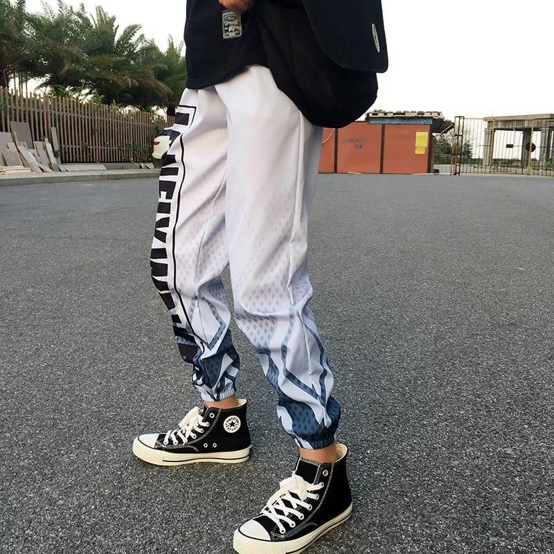 Ins Hip Hop Casual Gradient Men 39 s Sports Pants Letter Print Harem Cargo Joggers Pants Streetwear Men Women Couple Sweatpants in Harem Pants from Men 39 s Clothing