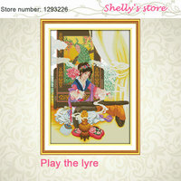 Play The Lyre Classical Girl China Counted Stamp 11CT 14CT Cross Stitch Sets Wholesale Cross Stitch