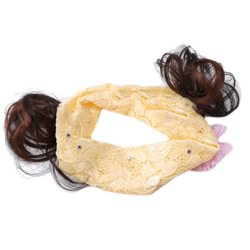 1 pc de moda de chicas Peluca de encaje banda pelo bebé diadema de fiesta de niños bebé accesorios para el pelo diadema tocado