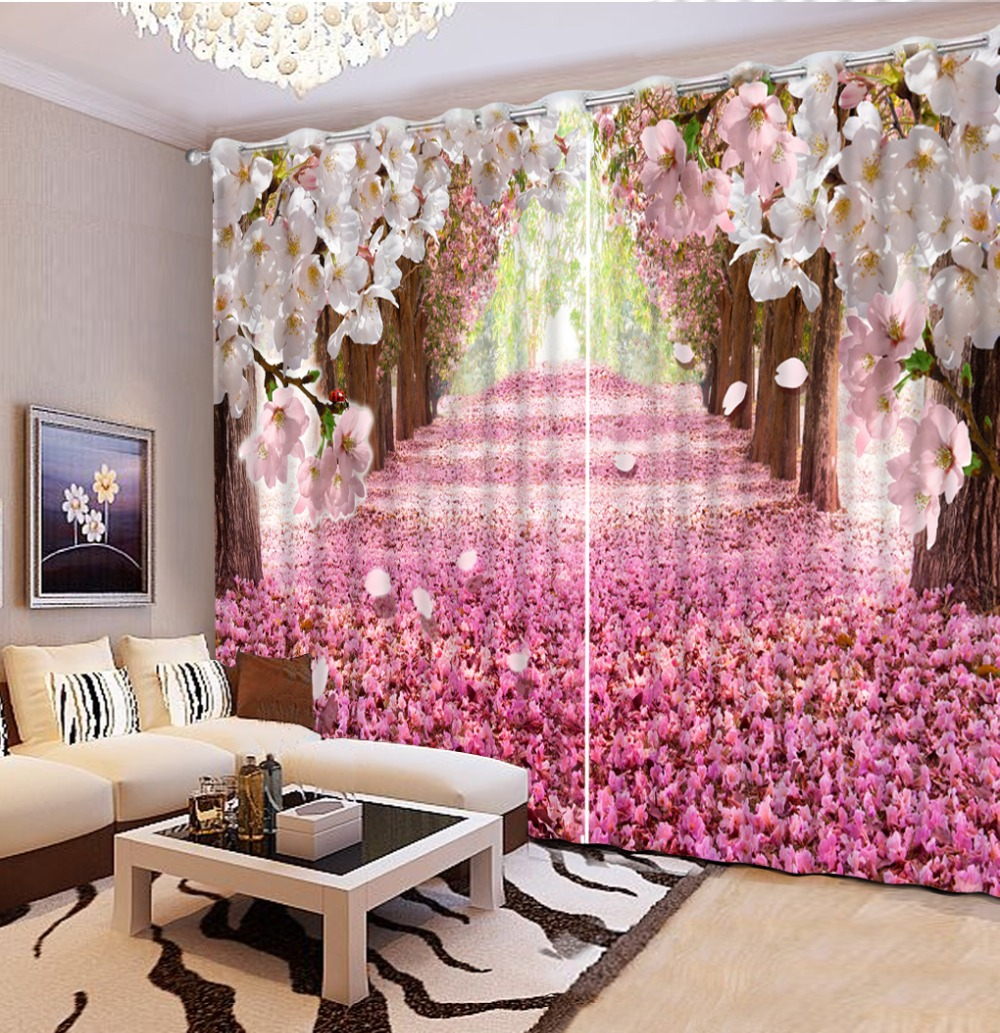 Modern beautiful 3d curtains cherry blossoms romantic for Cherry blossom bedroom ideas
