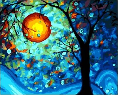 Frameless foto painting by numbers dipinto a mano della tela di canapa di disegno pittura a olio di diy dai numeri 40*50 astratta di Notte Al Chiaro di Luna