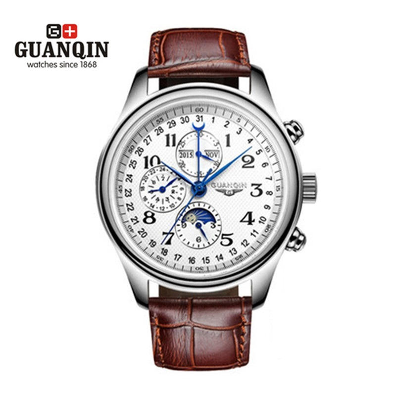 ФОТО Famous Brand Original GUANQIN Watch Men Big Dial Sport Mechanical Watch Waterproof Watches Sale Military Wrist Watches Clock