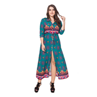 2018 Summer Autumn Women Dress V Neck Half Sleeve Printed Long Maxi Dress Plus Size 4XL