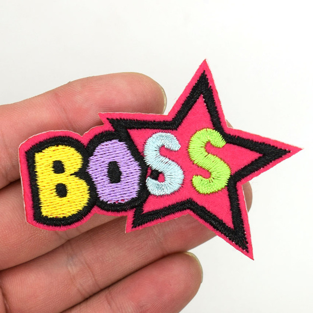 e79ba56fc 2Pc Design Letter Boss Patch Stickers Cartoon Embroidered Patches ...