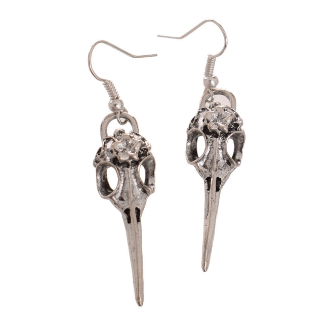 Gothic Skull Shaped Metal Steampunk Drop Earrings