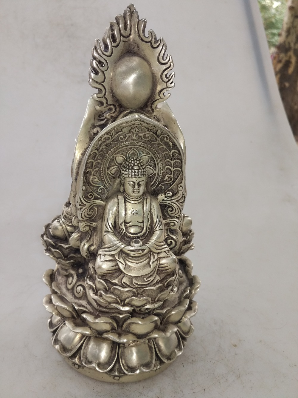Hand carved white copper Buddhist three sage sculptures in the Emperor Qianlong of the Qing Dynasty in ChinaHand carved white copper Buddhist three sage sculptures in the Emperor Qianlong of the Qing Dynasty in China