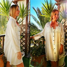 Women Summer Fashion Beach Tops Swimsuit Cover Up Plus Size Long Sleeve White Cotton Pocket Button Front Open Shirt Dress N648