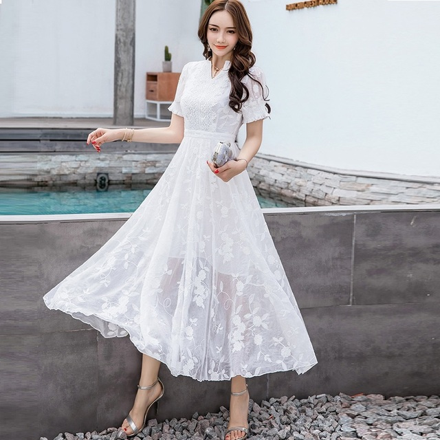 New2018Summer Women beautiful long dress V neck big bottom elegant party  dress plus size embroidery longos 553d73c19999