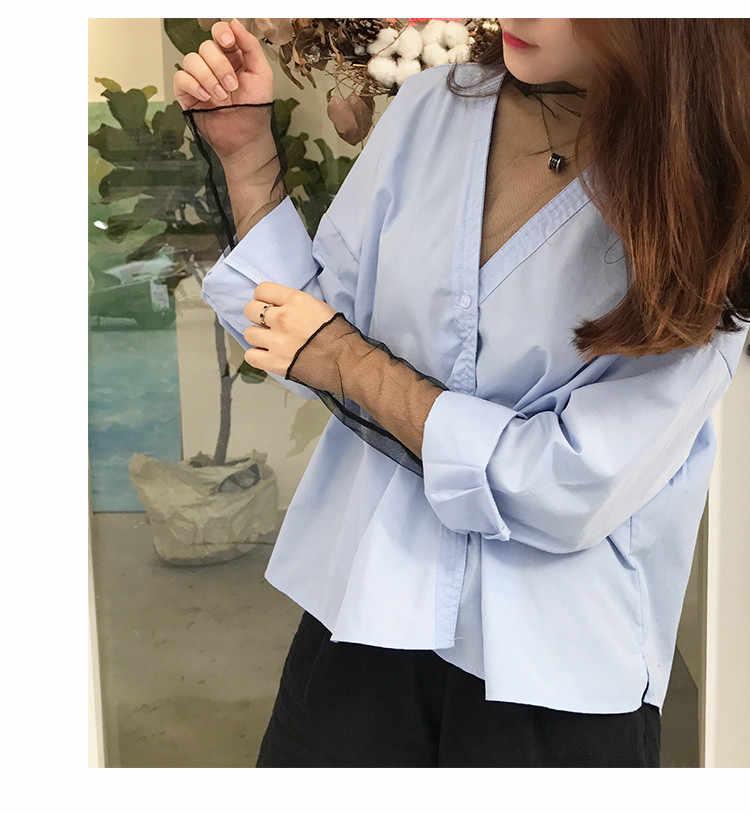 Lato kobiety koronki baza bluzki koszula kobiet topy Sexy mesh bluzki przezroczyste Hollow Out z długim rękawem czarna koszula bluzka