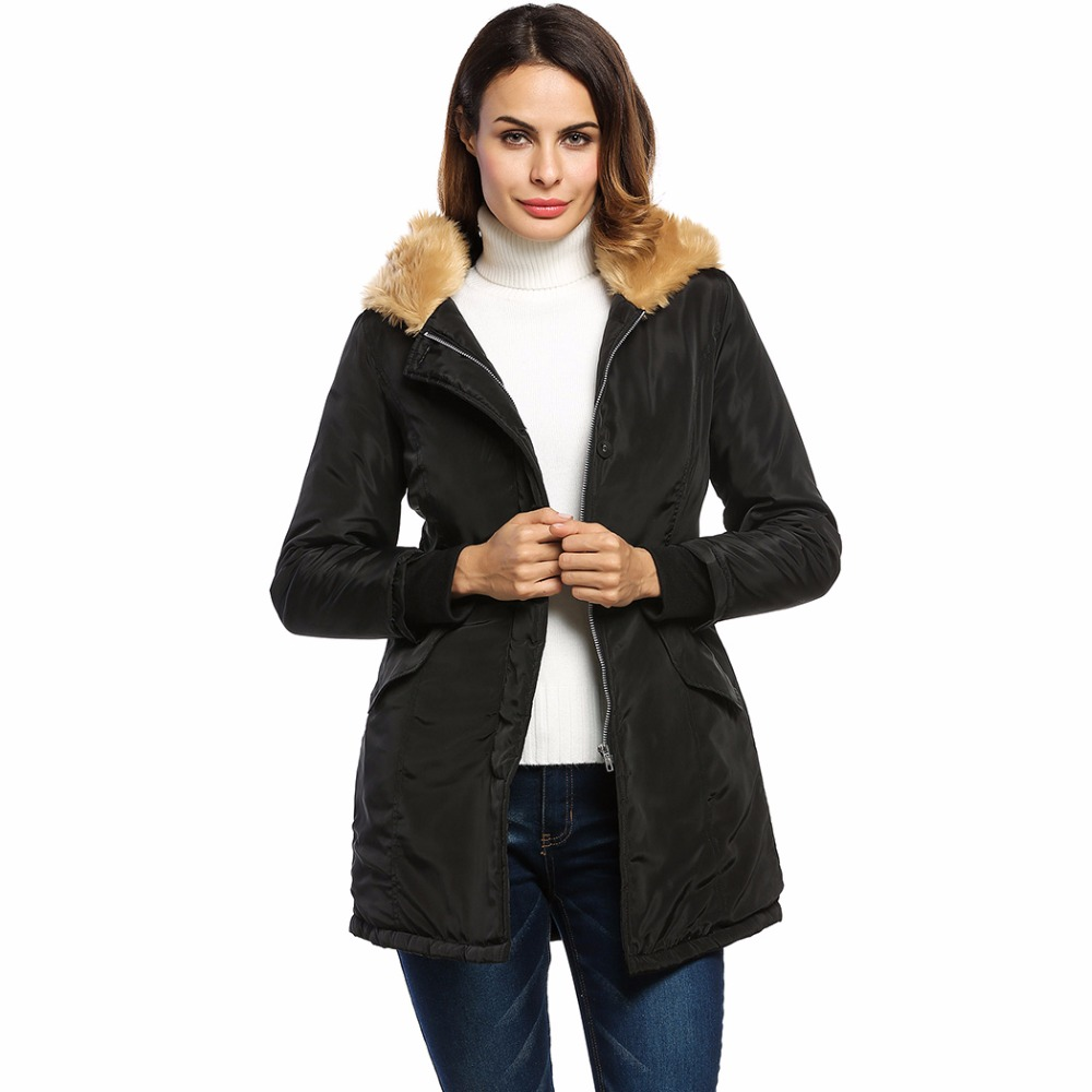 Winter Coat Women Jacket Parka 2017 Hooded Coat Faux Fur Collar Pockets Waist Drawstring Warm Thick Women's Coats Tops Plus Size stylish hooded drawstring boyfriend trends pockets women s jean coat