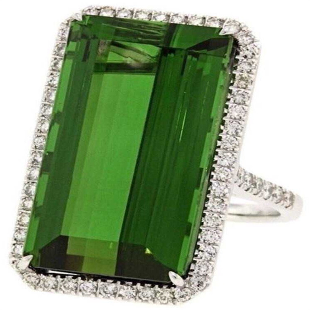 Vintage Dark Green Stone Rings for Women Wedding Gift Silver Rings Princess Luxury Jewelry Bague Femme Man Anillos Mujer O3C146