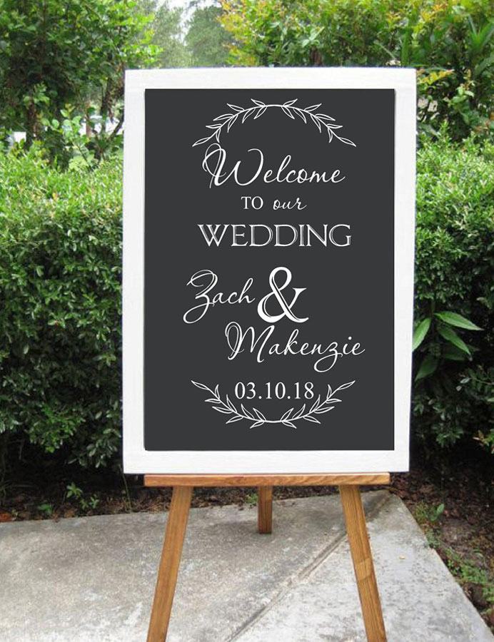Personalized Welcome Sign Decal for Wedding Welcome to Our Wedding Decor Prop Custom Vinyl Art Stickers DIY Murals WD15