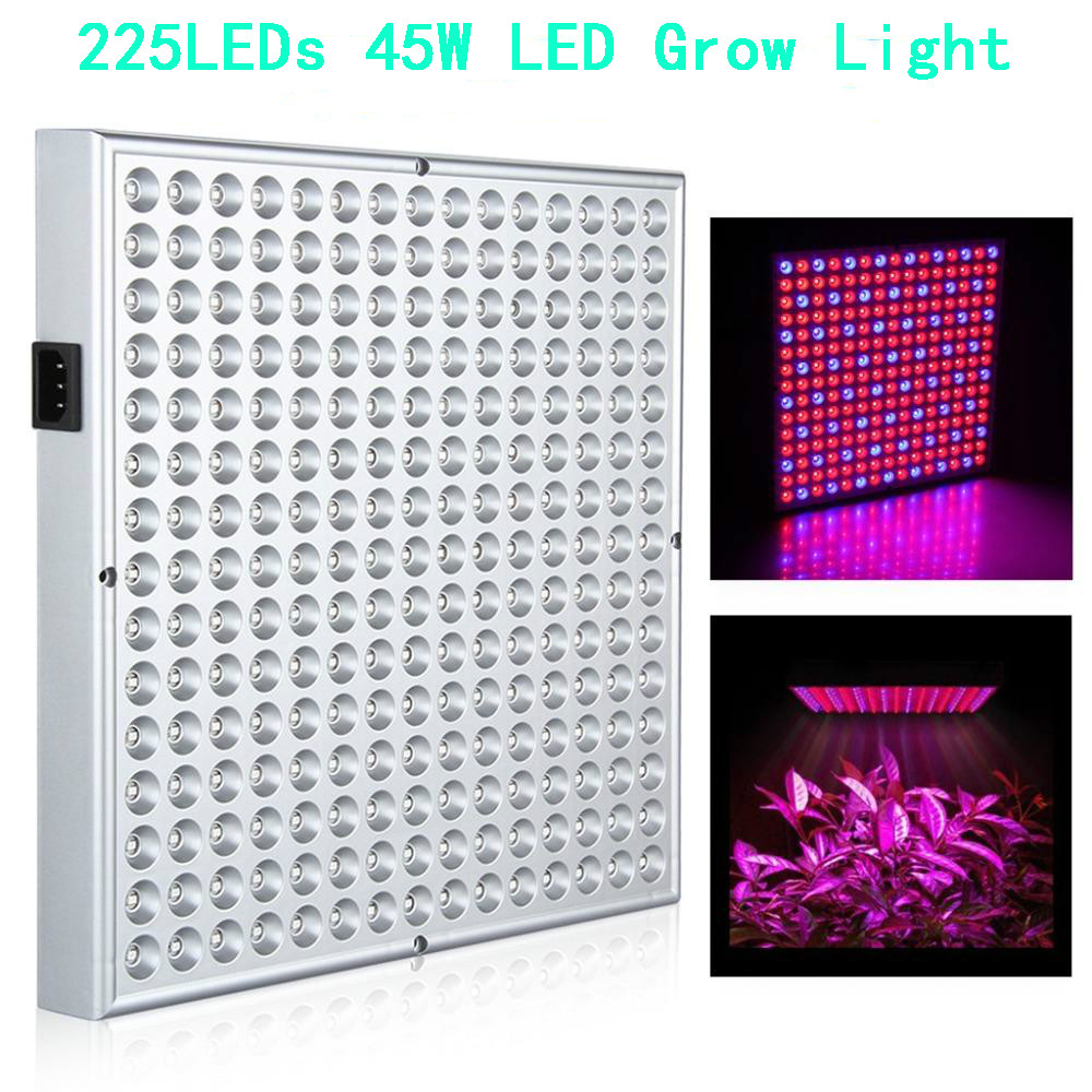 Full Spectrum 45W 225 LEDs Led Grow Lights Panel Lamp for Indoor Greenhouse Hydroponic Systems,Flower Vegetable Plants Growth led grow lights 1000w full spectrum grow lights double chips growing lamp for indoor plants greenhouse hydroponic veg and flower