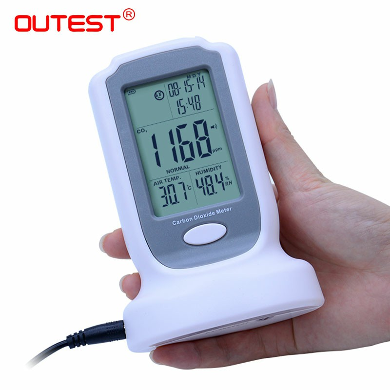 Digital CO2 monitor detector GM8802 Gas detector 3 in1 Carbon Dioxide Temperature Humidity Detector with LCD backlight display цена