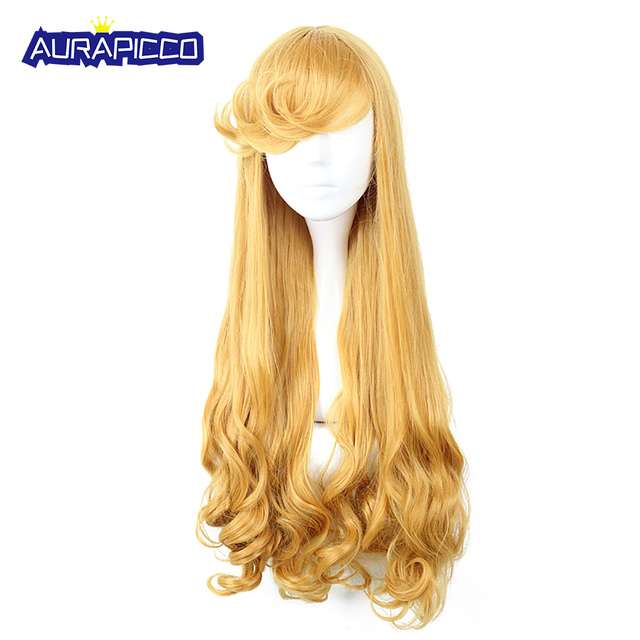 Sleeping Beauty Cosplay Princess Gold Yellow Curly Hair Heat Resistant FiberCartoon Movie Cosplay Perruqu Costume Accessories