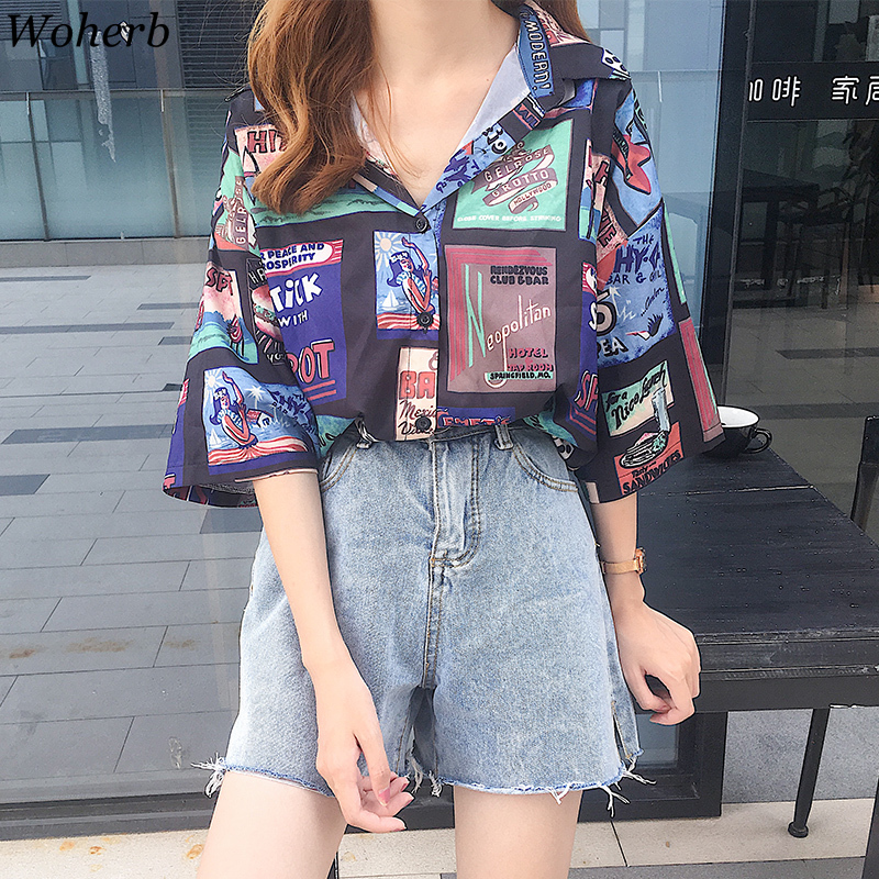 Woherb Summer Oversized Blouse Women Loose Hip-hop Shirt Vintage Graphics Print Harajuku Streetwear Ladies Tops Blusas 21941