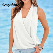 Купить с кэшбэком 2018 womens tops and blouses plus size summer befree off shoulder top sleeveless chiffon off white spliced blouse streetwear 3XL