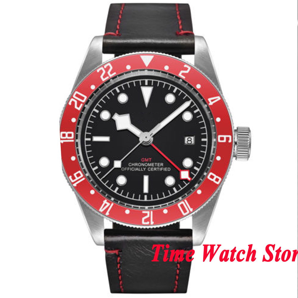 Solid 41mm GMT mens watch black sterile dial luminous white marks sapphire glass Automatic movement wrist watch cor113Solid 41mm GMT mens watch black sterile dial luminous white marks sapphire glass Automatic movement wrist watch cor113