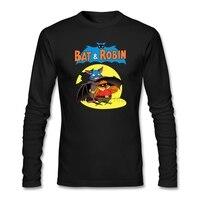 Bat And Robin Mens Natural Tee Shirts Rock Customized T Shirt WithCartoon Funny Youth Long Sleeved