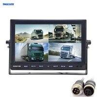 SMALUCK 4CH 4PIN DC12V 24V 10 дюймов 4 Сплит Quad ЖК экран дисплей заднего вида Автомобильный монитор для автомобиля Грузовик Автобус камера заднего вида