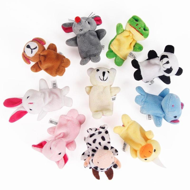 Cute Baby Plush Toy 10pcs/set Finger fantoches de dedo Puppets Educational Hand Puppet Mini Hand Toy set for baby kids gift D15