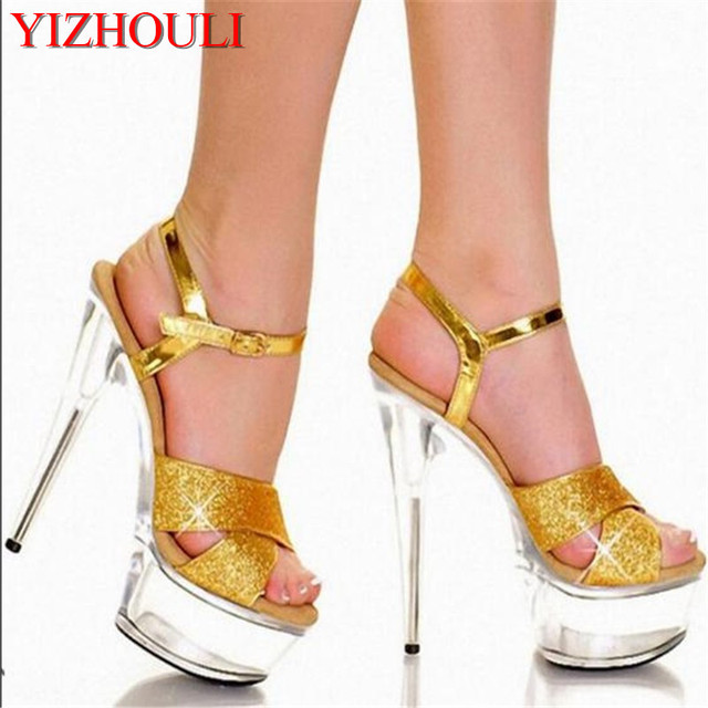 5c60b8ebf458 Europe and the United States star favorite dress shoes   15 cm super high  heels performance customized glass Sandals