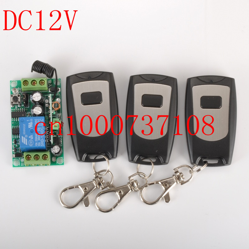DC 12V10A1CH Wireless Remote Control Switch System Receiver and Transmitter Entrance guard and applicance garage door free shipping 12v 1ch learning code wireless remote control switch system 1 receiver and 1 transmitter for entrance guard door