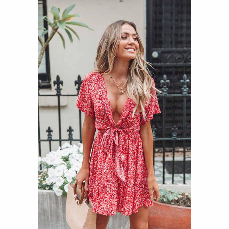 dd5b013659190 NIBESSER Women Mini Boho Floral Dress Summer Beach Short Sleeve V ...