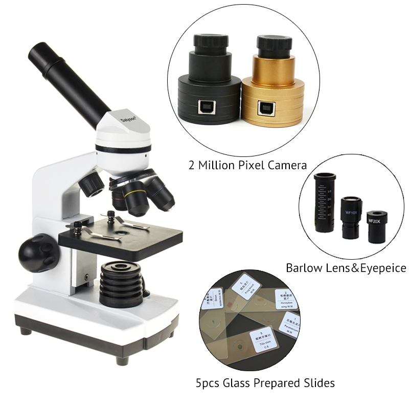 Datyson Biological Microscope Zoom 1600 times Animal Plant Blood Analysis Instrument With 2 MP Camera Digital