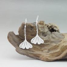 Ginkgo Leaf Earing 999 Sterling Silver Dangle Earrings For Women Accessories Fashion Jewelry Luxury Statement Handmade Vintage