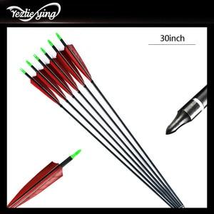 Image 2 - 6 個クロスボウ狩猟 30 インチSpine500 カーボン矢印赤トルコ真の羽反らすの弓の狩猟アーチェリー