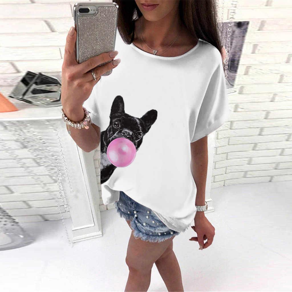 Womens Fashion Small Dog Print Short Sleeve Tops T-Shirt Tee camisetas verano mujer 2019 t shirt women koszulki damskie tops