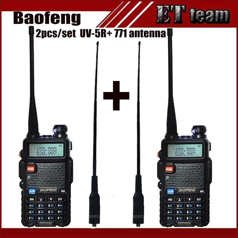 imágenes para 2 unids/set Radio Portátil Walkie Talkie de Baofeng UV-5R UV 5R UV5R radio de dos vías Transmisor de la estación con antena suave Femenina 771