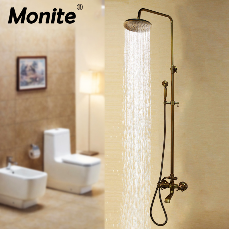 Bathroom Shower Set With Shower Hand And Round Shower Hand Rainfall Antique Brass Mixer Taps Double