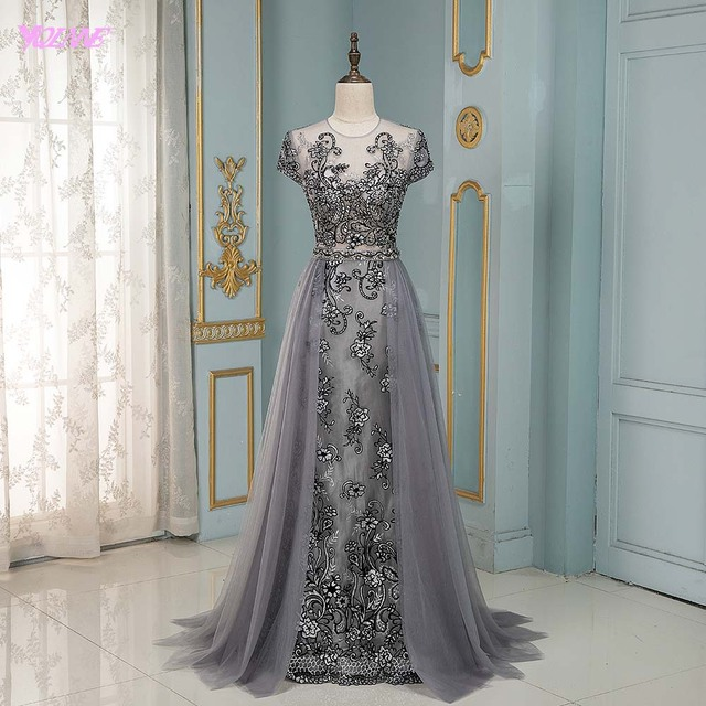 YQLNNE Couture Gray Rhinestones Evening Dress Long Embroidered Cap Sleeve Tulle Evening Gown