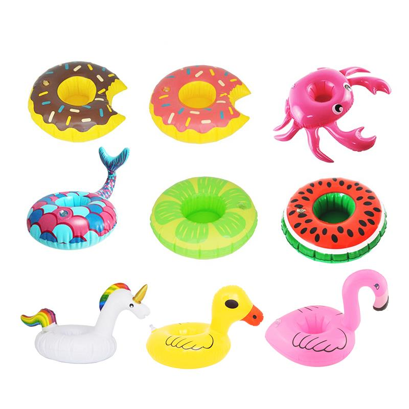 9 PCS Shower Toys Decor Cup Inflatable Drink Ring Swim Coasters PVC Unicorn Flamingo Palm Tree Mushroom Pineapple Swan