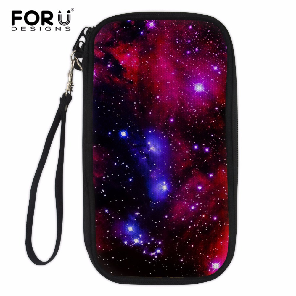 FORUDESIGNS Travel Passport Wallet Hand Holding Bag Galaxy Crossbody Bag Multifunction Credit Card Package ID Holder Storage