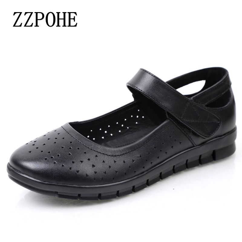 ZZPOHE New spring and autumn mother shoes soft soled casual comfortable women flat shoes hollow breathable grandma shoes 2017 spring and autumn hot selling women s comfortable diabetic shoes foot swollen foot care shoe breathable flat bunion shoes