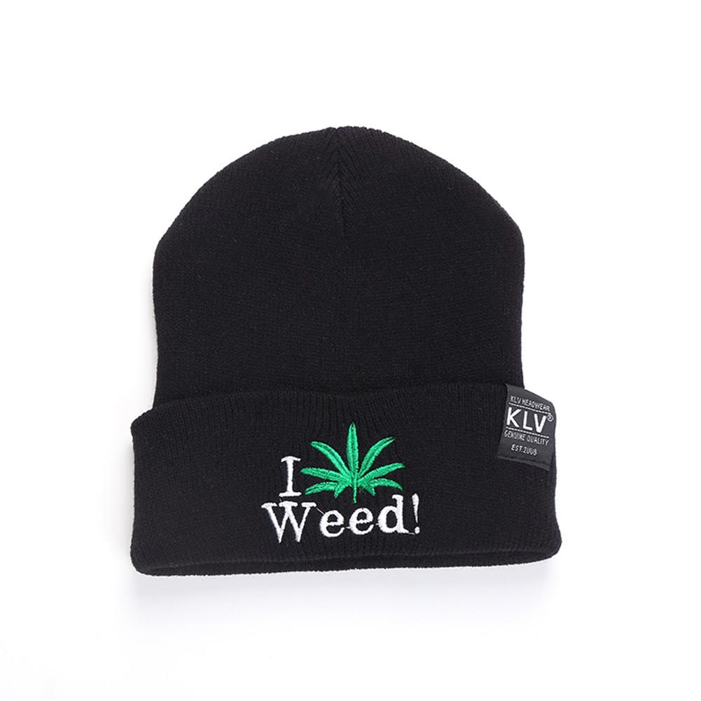 New Fashion Women's Men's Hat Winter Hip Hop Punk Black Weed Leaf   Beanie   Outdoor Knitted Woolen   Skullies   Cap Couples Personality