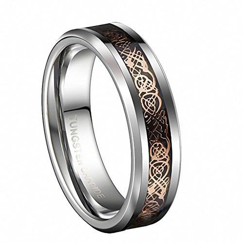 Tungsten Rose Gold Celtic Dragon Stripe Band Ring 6mm 8mm