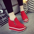 2016 Spring Breathable Women Flat Platform Shoes Red Suede Casual Shoes for Women Fashion Peep Toe Wedge Shoes Zipper G212 35