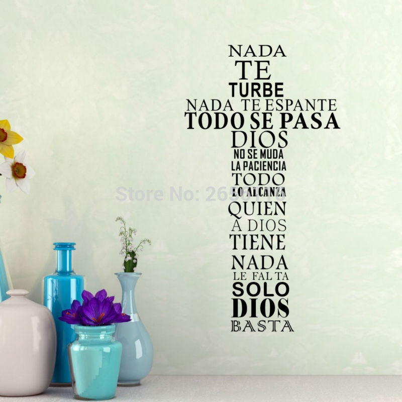 Spanish Christian God Quotes Wall Stickers NADA TE TURBE Vinyl Art Decals for Home Decor