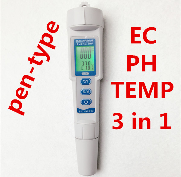 New pen-type 3 in 1  pH Tester EC TEMP Meter Analyzer Water Quality Purity temperature Monitor Automatic Calibration 0.01 new pen type 3 in 1 ph tester ec temp meter analyzer water quality purity temperature monitor automatic calibration 0 01
