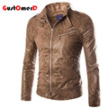 European Style Trendy Multi-Pocket Stand Collar Imitation Snakeskin Male Leather Jacket  Slim fit Leather Jacket