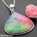 Hermosa Jewelry Exquisite charming vintage Drop shape Multi-color Drusy Druzy Agate 925 sterling silver beautiful pendan HF649